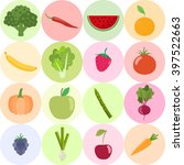 set of fresh healthy vegetables ... | Shutterstock .eps vector #397522663
