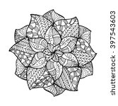 zentangle flower mandala for... | Shutterstock .eps vector #397543603