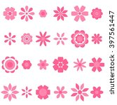 pink flowers set | Shutterstock .eps vector #397561447