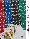 poker chips and cards | Shutterstock . vector #397570597