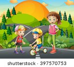 three kids playing on the road... | Shutterstock .eps vector #397570753