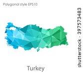 turkey map in geometric... | Shutterstock .eps vector #397573483
