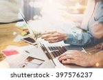 accounting business meeting... | Shutterstock . vector #397576237