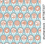 red icons of marine life and... | Shutterstock .eps vector #397587337