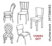 set of chairs. hand drawn... | Shutterstock .eps vector #397588483