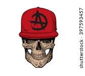 skull teenager  fashion style.... | Shutterstock .eps vector #397593457