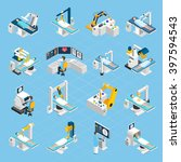 robotic surgery isometric icons ... | Shutterstock .eps vector #397594543