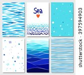set of 6 lovely cards templates ... | Shutterstock .eps vector #397594903