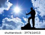 silhouette of man in mountain.... | Shutterstock . vector #397616413