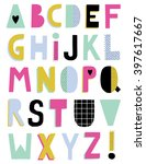 hand drawn creative alphabet ... | Shutterstock .eps vector #397617667