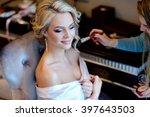 wedding makeup artist making a... | Shutterstock . vector #397643503