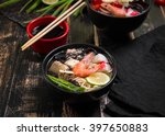 table served with asian noodle... | Shutterstock . vector #397650883