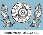 stylized clock with feathers.... | Shutterstock .eps vector #397666417
