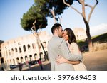loving couple in front of the... | Shutterstock . vector #397669453