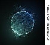 3d illuminated neon sphere of... | Shutterstock .eps vector #397679857