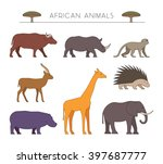 outline set of african animals. ... | Shutterstock . vector #397687777