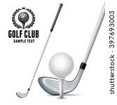 set of golf equipments. white... | Shutterstock .eps vector #397693003
