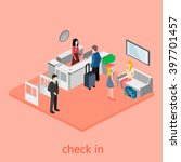 isometric interior of reception. | Shutterstock . vector #397701457