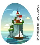 Lighthouse In The Sea. Vector...