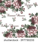 summer peony flower frame in... | Shutterstock .eps vector #397730233