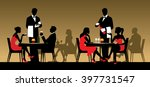 silhouettes of people sitting...   Shutterstock .eps vector #397731547
