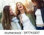 portrait of three young women... | Shutterstock . vector #397741837