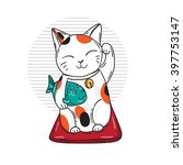 cute lucky cat. traditional... | Shutterstock .eps vector #397753147
