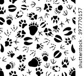 black tracks of animals and... | Shutterstock .eps vector #397770157