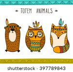 set of vector hand drawn indian ... | Shutterstock .eps vector #397789843