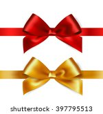 shiny red and gold satin ribbon ... | Shutterstock .eps vector #397795513