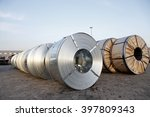 roll steel in harbor  cold... | Shutterstock . vector #397809343