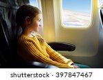 adorable little girl traveling... | Shutterstock . vector #397847467