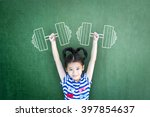 Small photo of Empowering woman and girl gender rights concept with healthy strong kid with sports exercise doodle on chalkboard