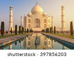 the taj mahal is an ivory white ... | Shutterstock . vector #397856203