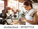 active girl with smartphone... | Shutterstock . vector #397877713
