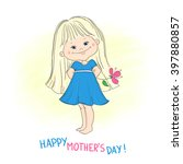 happy mothers day card. cute... | Shutterstock .eps vector #397880857