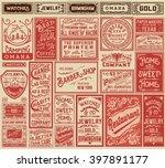 Mega pack retro advertisement designs and labels - Vector illustration   Shutterstock vector #397891177