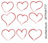 vector hearts set. hand drawn. | Shutterstock .eps vector #397939777