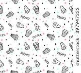 coffee pattern. seamless... | Shutterstock .eps vector #397947223