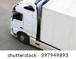 big white trailer transporting... | Shutterstock . vector #397949893