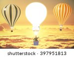 idea concept with one lightbulb ... | Shutterstock . vector #397951813