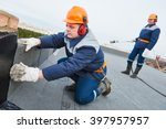 flat roof installation. heating ... | Shutterstock . vector #397957957