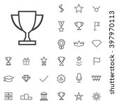linear award icons set....