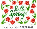 hello spring phrase vector...