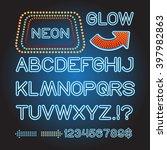 vector blue neon lamp letters... | Shutterstock .eps vector #397982863