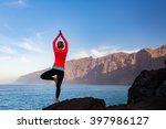 woman meditating in yoga... | Shutterstock . vector #397986127