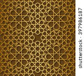 arabic pattern gold style.... | Shutterstock .eps vector #397986187