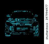 car in circuit board style... | Shutterstock .eps vector #397994977