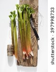 rhubarb tied with string on a... | Shutterstock . vector #397998733