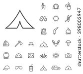 linear camping icons set....